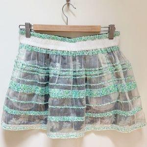 REBECCA MINKOFF floral sheer Mini Skirt S